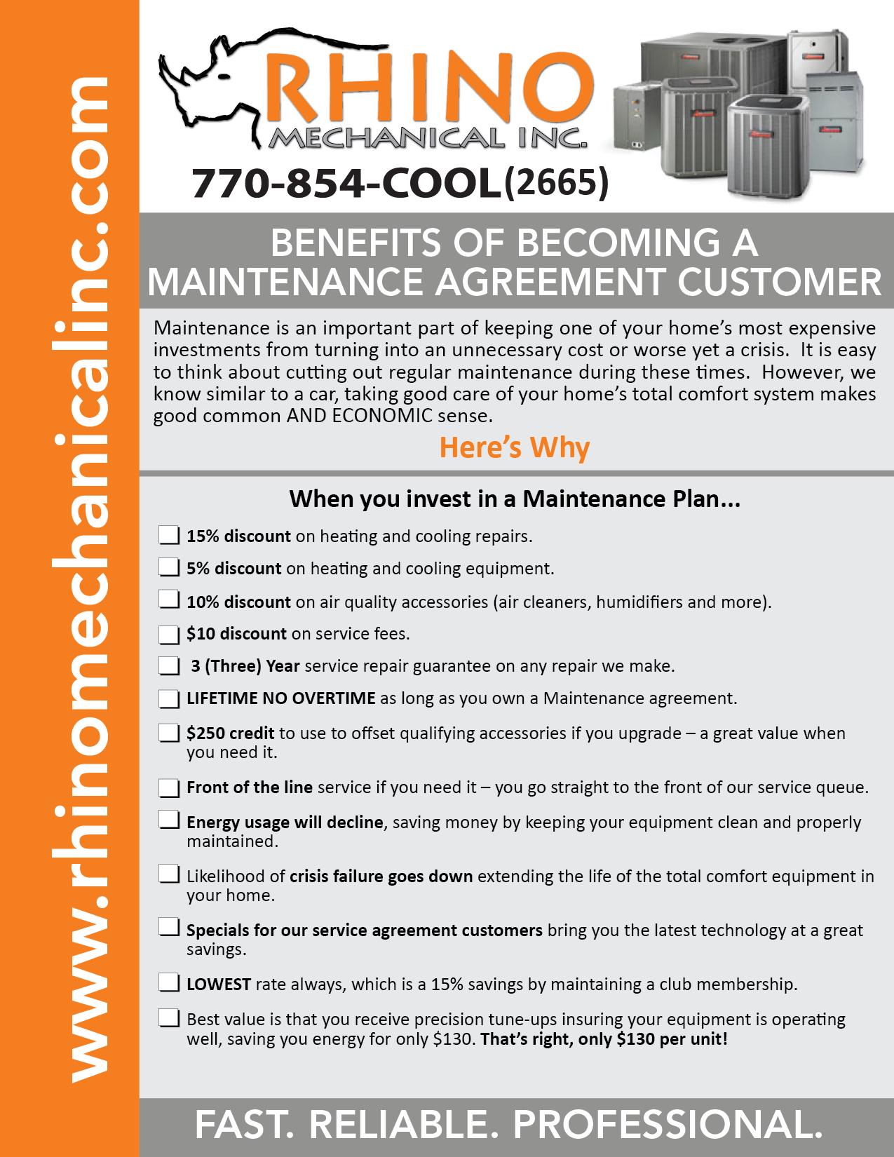 Rhino Mechanical Maintenance Agreement Flyers NEW 2018-01